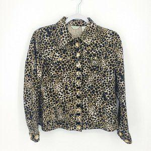 Laura Ashley Womens Sz PM Tan Black Leopard Jacket